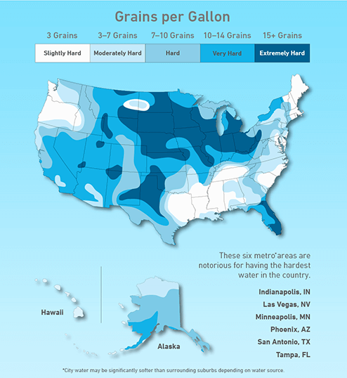 Water Grains Per Gallon US Map