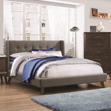 Carrington Queen Upholstered Wing Bed
