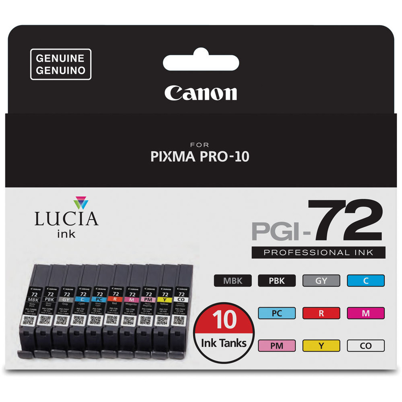 Canon Lucia Pgi 72 10 Color Ink Tank Value Pack 60685051270 Cartridge 29 Red