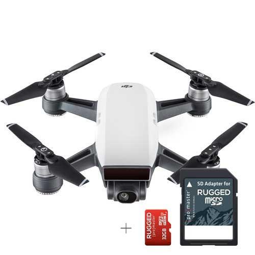 DJI Spark Quadcopter (Alpine White) + 32GB  Promaster Rugged Micro SD Memory Card
