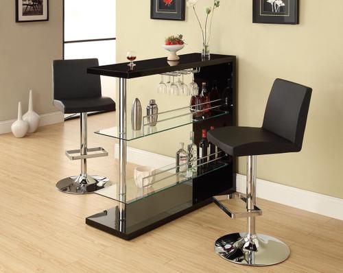 Contemporary Bar with Glass Storage Shelves