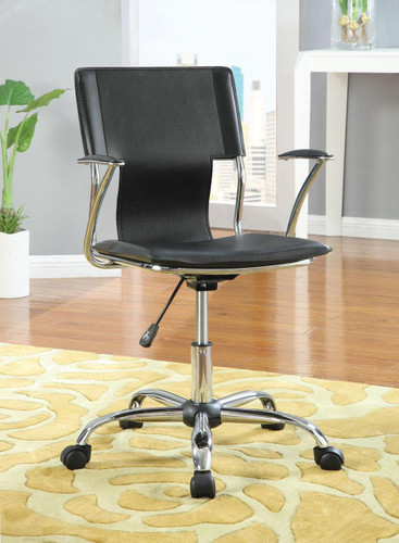 Office Chair in Chrome and Black Finish