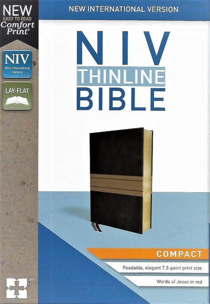 NIV BIBLE. Thinline, Compact size. New Comfort Print. Words of Christ in red. Chocolate/tan Leathersoft cover.