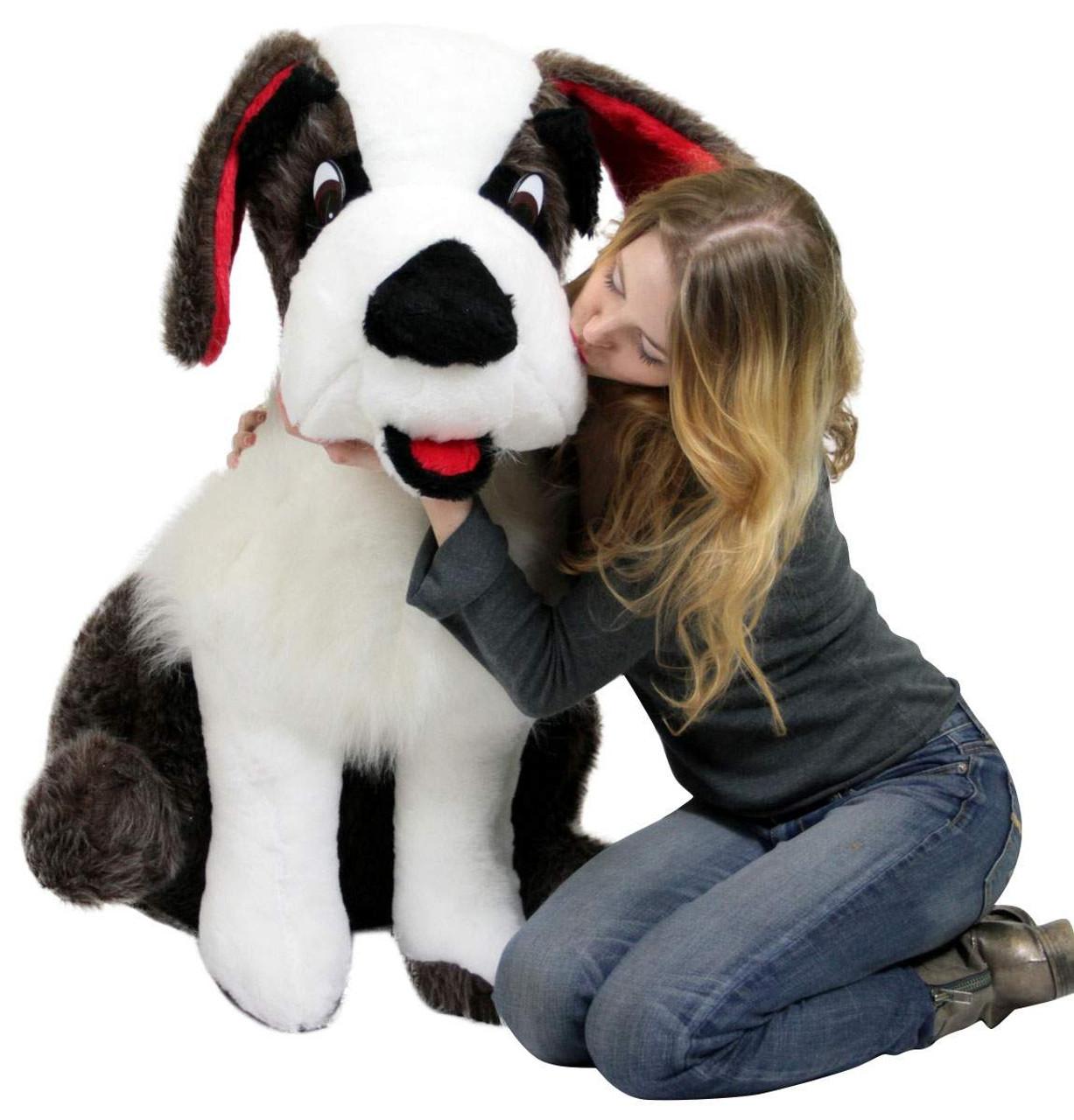 american made life size stuffed saint bernard 38 inch soft big plush dog whimsical pooch big. Black Bedroom Furniture Sets. Home Design Ideas