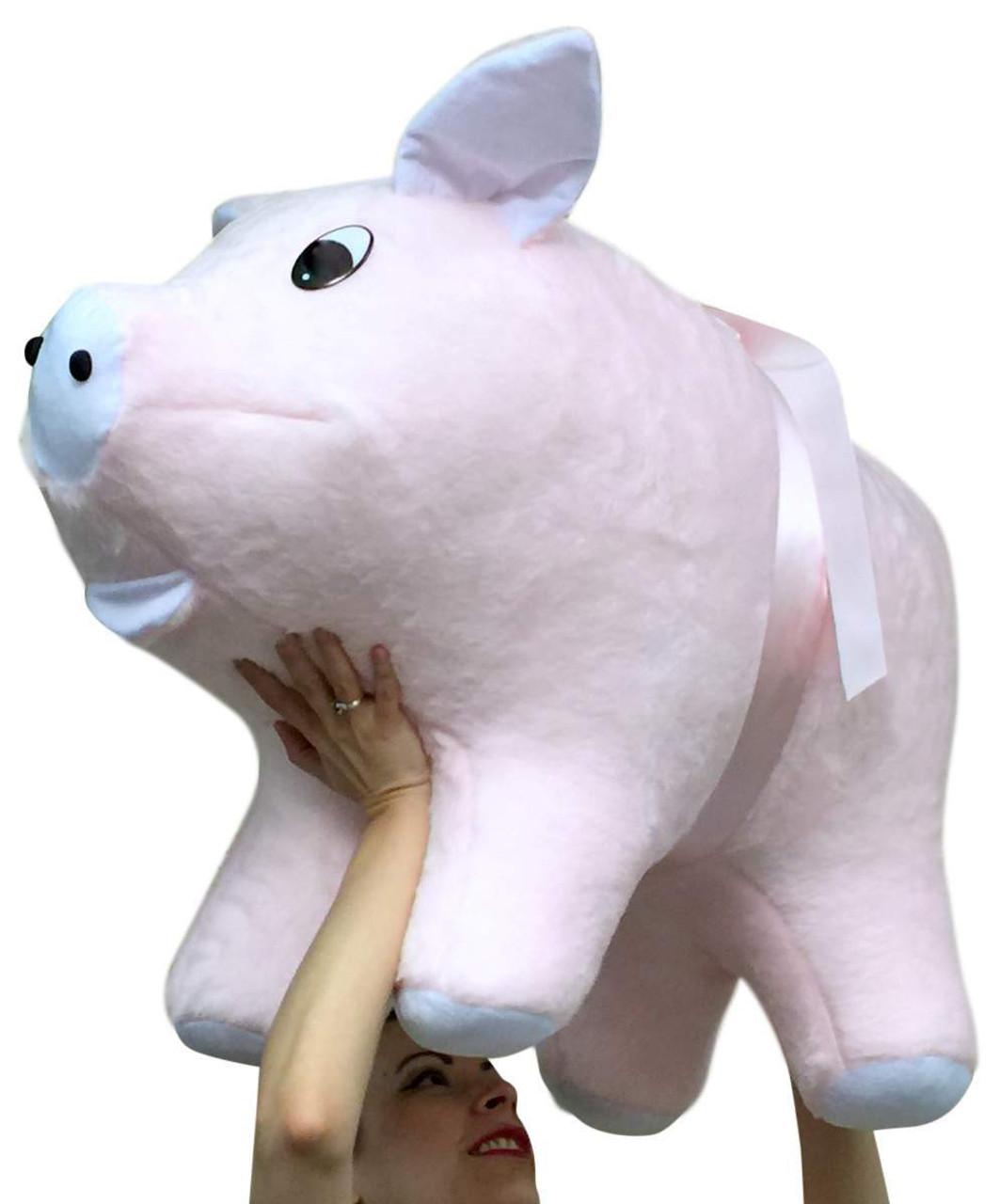 american made giant stuffed pink pig 32 inch soft big plush hog farm animal big plush. Black Bedroom Furniture Sets. Home Design Ideas