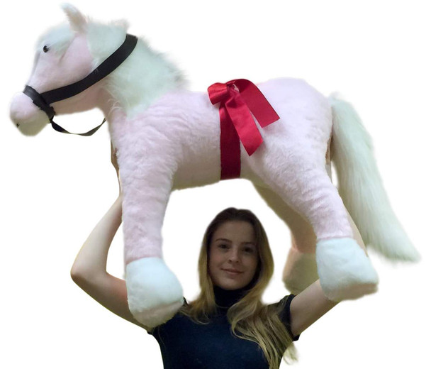 American Made Giant Stuffed Pink Pony 3 feet tall 3 feet wide Stuffed Horse Made in USA