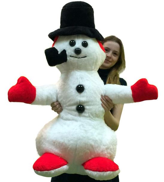 American Made Giant Stuffed Snowman 3 feet Tall Soft Big Plush Christmas Snuggle Buddy
