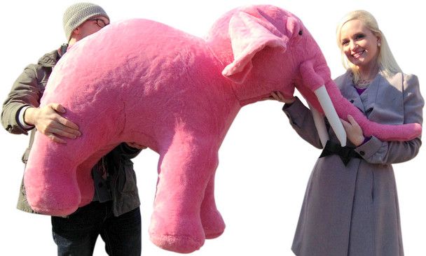 American Made Giant Stuffed Pink Elephant  Huge 54 Inches Long 3 Feet Tall  Made in the USA America