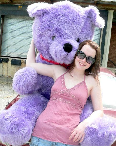 American Made Giant 6 Foot Purple Teddy Bear Big Plush Bear Made in USA