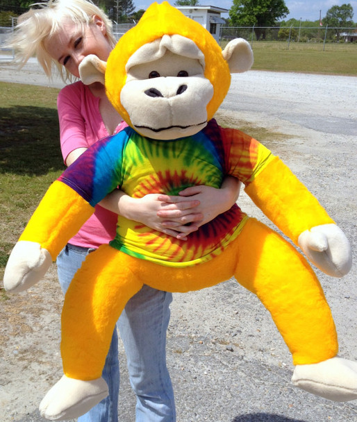 40-inches tall Yellow Groovy Hippie Monkey wearing Rainbow Tie Dye T-Shirt MADE IN USA