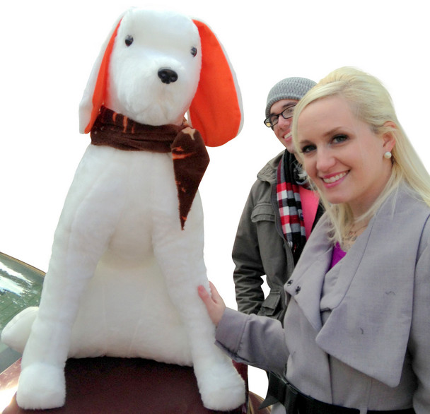 Giant Stuffed Puppy Dog 3-feet tall - Sits on its own without Needing Assistance - Made in the USA America - White Ears with Orange Accent