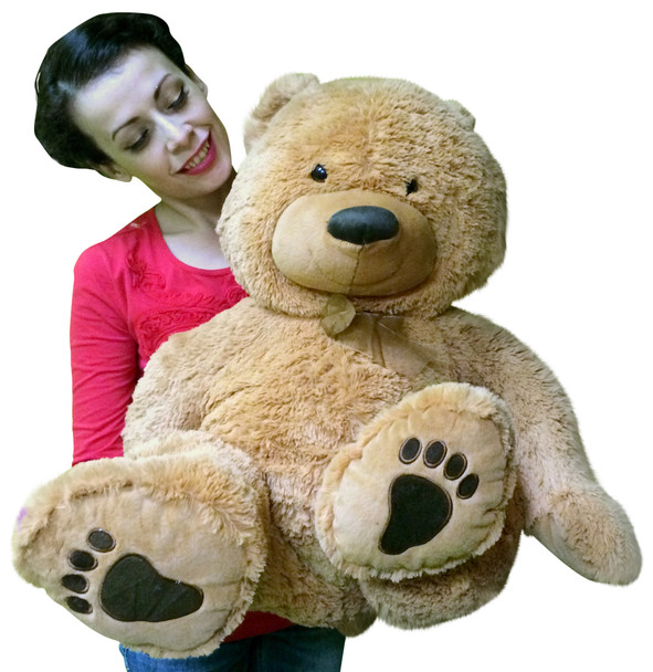 Large Soft Teddy Bear 36 inches tall Big Belly and Big Foot Paws Beige Color Stuffed by Hand in USA