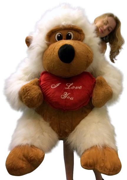Giant Valentine Stuffed White Gorilla Holding I LOVE YOU Heart Pillow Size 51 Inches Waist Long Fur Big Plush Valentine's Day Stuffed Animal White