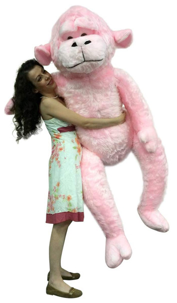 Giant Stuffed 6 Foot Pink Gorilla 72 Inch Soft Huge Plush Monkey Made in USA