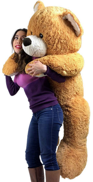 Giant Teddy Bear 55 Inches Big Plush Teddy Bear, Almost Five Feet Tall Honey Brown Color with Bigfoot Paws Premium Quality Plush and Soft
