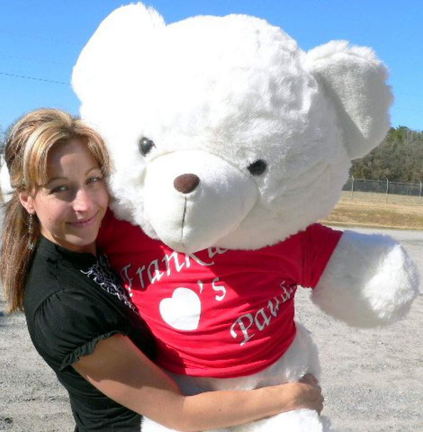 Personalized 4 Foot Teddy Bear Wears Personalized Tshirt Imprinted His Name Loves Her Name