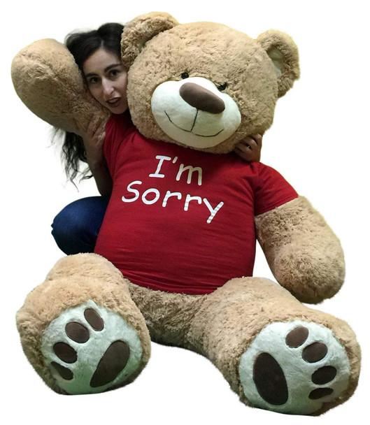 I'm Sorry Giant Teddy Bear 5 Feet Tall Tan Color Soft Wears T shirt that says I'M SORRY