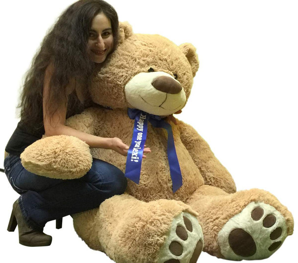 Custom Personalized Big Plush Giant Teddy Bear 5 Feet Tall - Your Name or Message Imprinted on Bear's Blue Neck Ribbon Bow - Tan Color with Bigfoot Paws Giant Stuffed Animal Bear