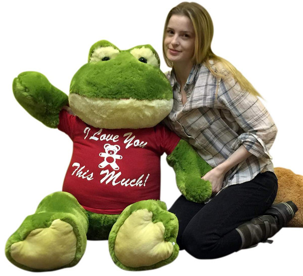 Giant Stuffed Frog Wears I Love You This Much Tshirt, 48 Inch Soft Big Plush Romantic Amphibian
