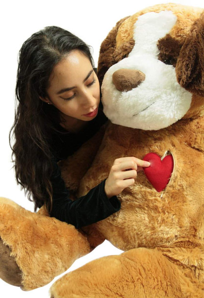 Giant Stuffed Dog Saint Bernard, Heart in Zippered Chest Pocket to Express Love, 48 Inch Soft 4 Feet Tall