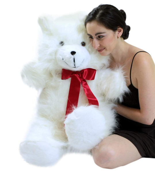 Jumbo 3 Foot Teddy Bear 36 Inch Soft White Teddybear Made in USA