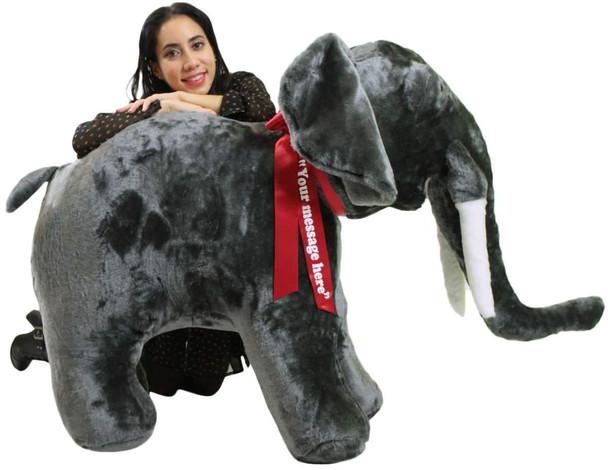 Personalized Giant Stuffed Elephant 48 Inch Soft American Made Big Plush Realistic Jungle Animal