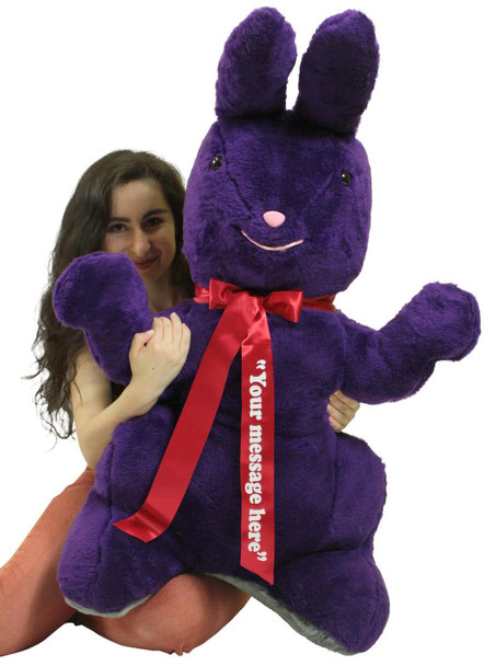 Personalized Giant Stuffed Purple Bunny 42 Inch Soft American Made Plush Rabbit Made in USA America