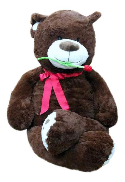 Big Plush Bear with Red Rose, 5 Foot Teddy Soft Brown Premium Giant Stuffed Animal 60 Inch Snuggle Buddy