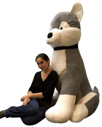 giant stuffed husky 5 feet tall soft 60 inches huge big plush plush dog big plush personalized. Black Bedroom Furniture Sets. Home Design Ideas