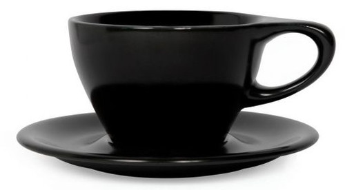 Lino Black Latte Small 8oz Cup & Saucer