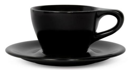 Lino Black Double Cappuccino 6oz Cup & Saucer