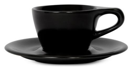 Lino Black Single Cappuccino 5oz Cup & Saucer