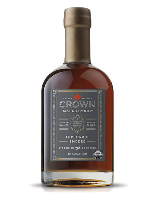 The flavors of toffee, brown butter, and toasted pecan notes come to life in Crown Maple Applewood Smoked syrup as we slowly smoke our Dark Color syrup at low temperatures with 100% natural Applewood, creating a medium-body that presents enticing aromas of sweet smoke and warm spice.