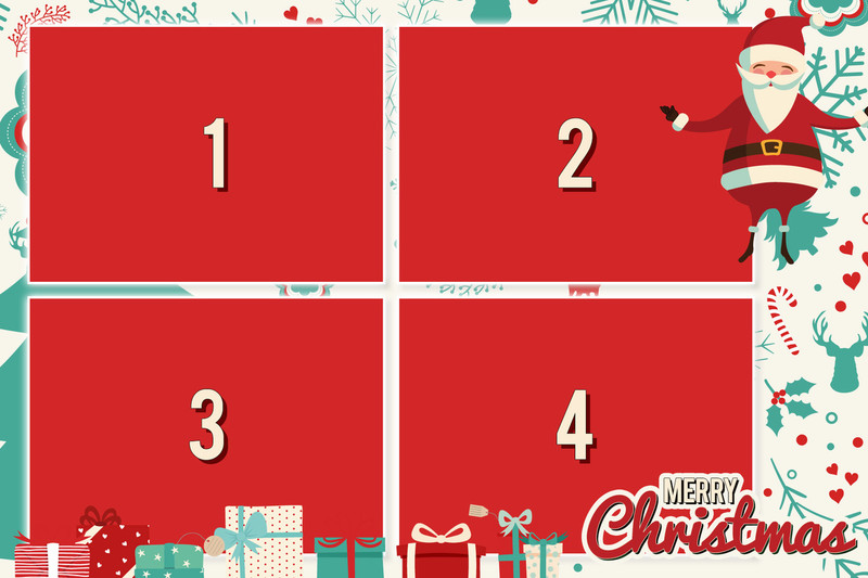 Merry Christmas 4x6 Print Template - 4 Images