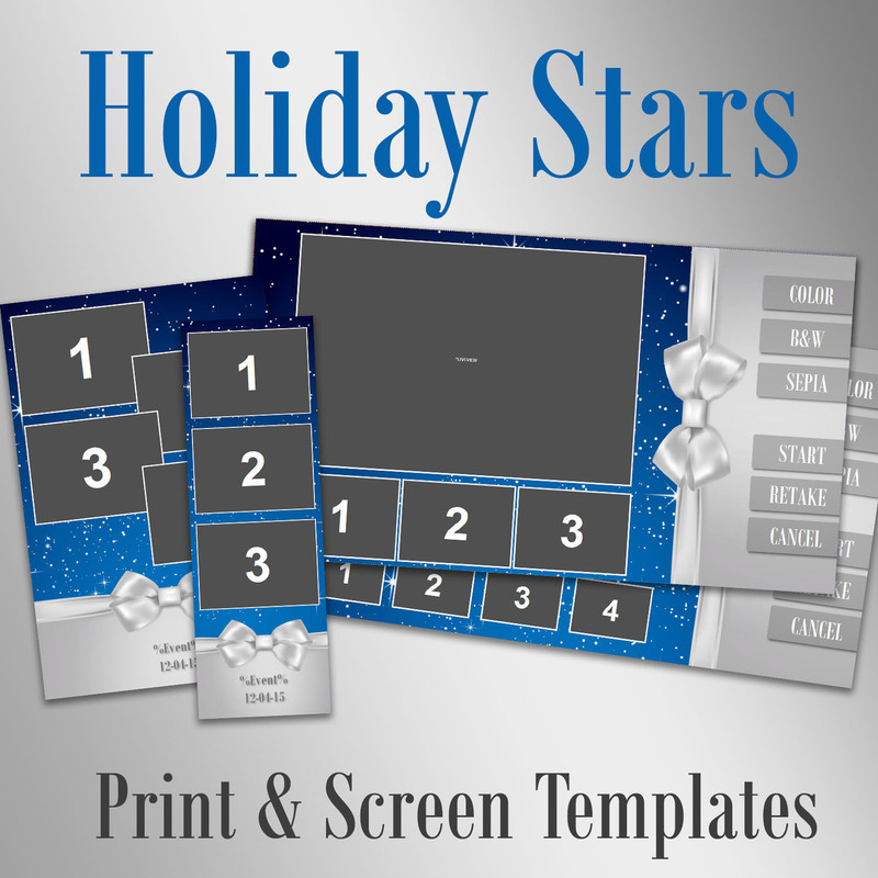 Holiday Stars - 2x6, 4x6, 6x8 and 2 Screen Templates