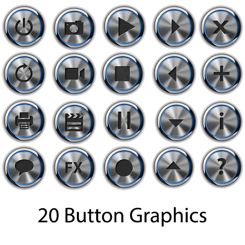 20 Elevator Style Button Graphics for Screen Templates (Blue)