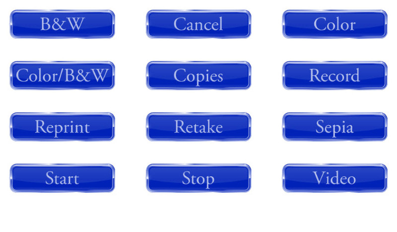 12 Glossy Button Graphics for Screen Templates (Blue)