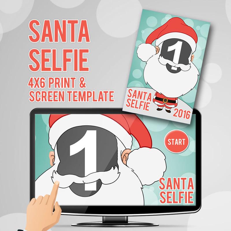 Santa Selfie 4x6 Print and Screen Template Bundle