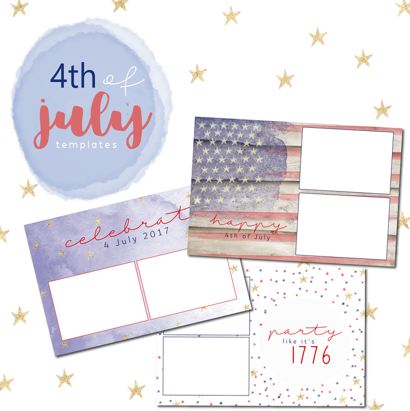 4th of July 4x6  Template Bundle