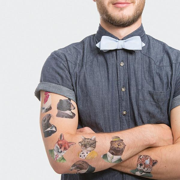 TATTLY Temporary Tattoos animal society set