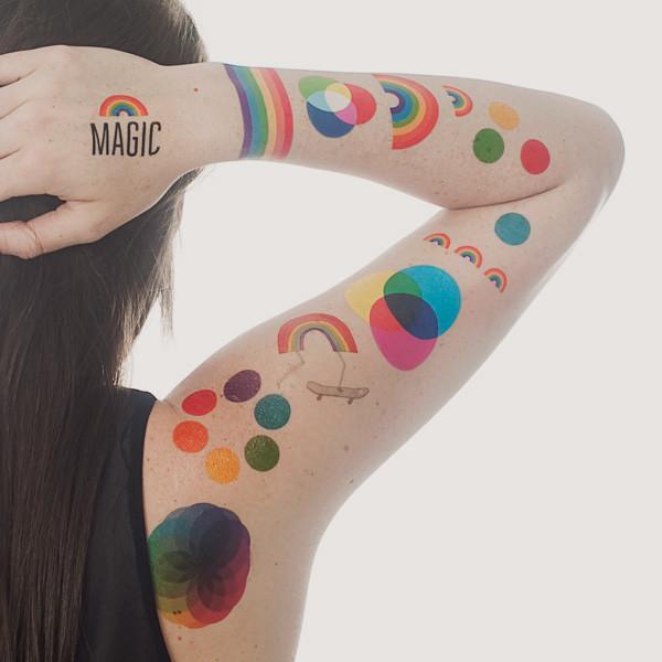 TATTLY Temporary Tattoos rainbow set