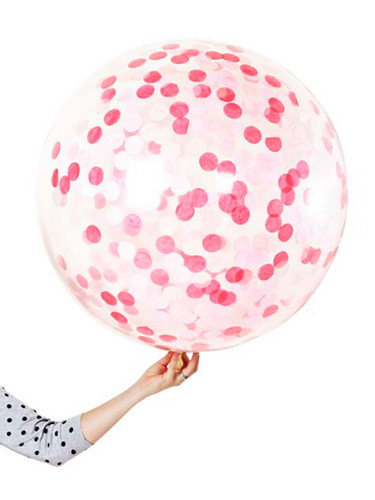 Pink Confetti Jumbo 90cm Inflated On Weight
