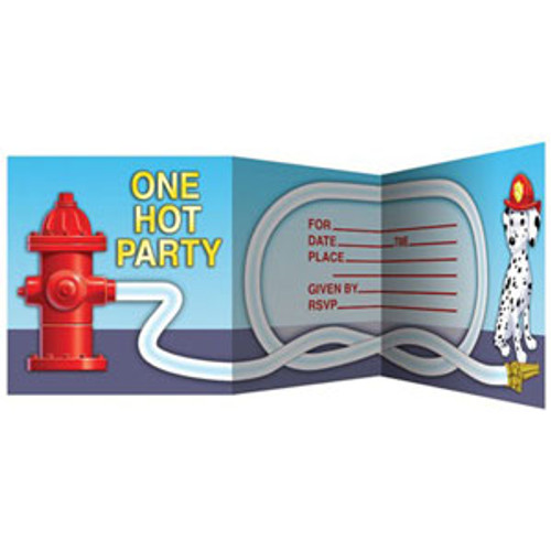 Firefighter Invitations, Z-Fold Diecut - Pack of 8