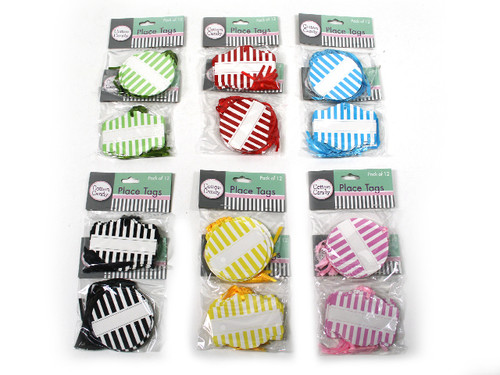 Striped Gift Tags Pk 12 Red