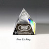 Rainbow Colored Crystal Pyramid Paperweight