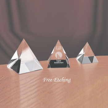CRYSTAL PYRAMID PAPERWEIGHTS