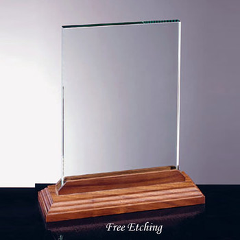 Vertical Glass Award with Walnut Base