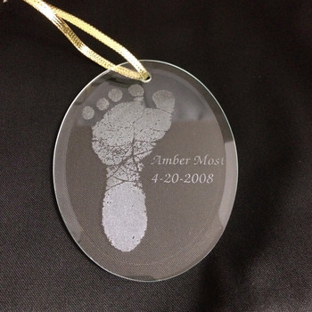 Oval Footprint Baby Ornament