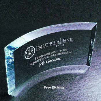 Blue Clear Curved Beveled Glass Award