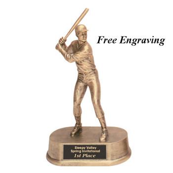 Male Baseball Trophy holding Bat Up